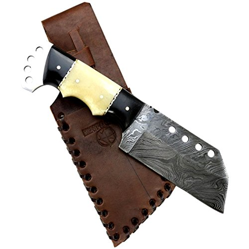 Hunt-Down-85-Full-Tang-Damascus-Blade-Horn-Handle-Hunting-Knife-with-Sheath