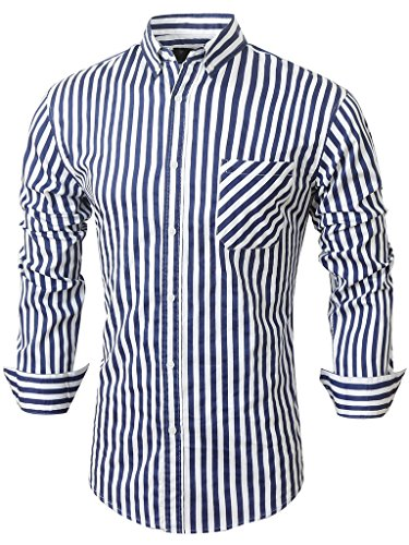 Emiqude Casual Slim Fit Long Sleeve Blue Striped Dress Shirts for Men Large Navy (Shirt Mens Button Striped Down)