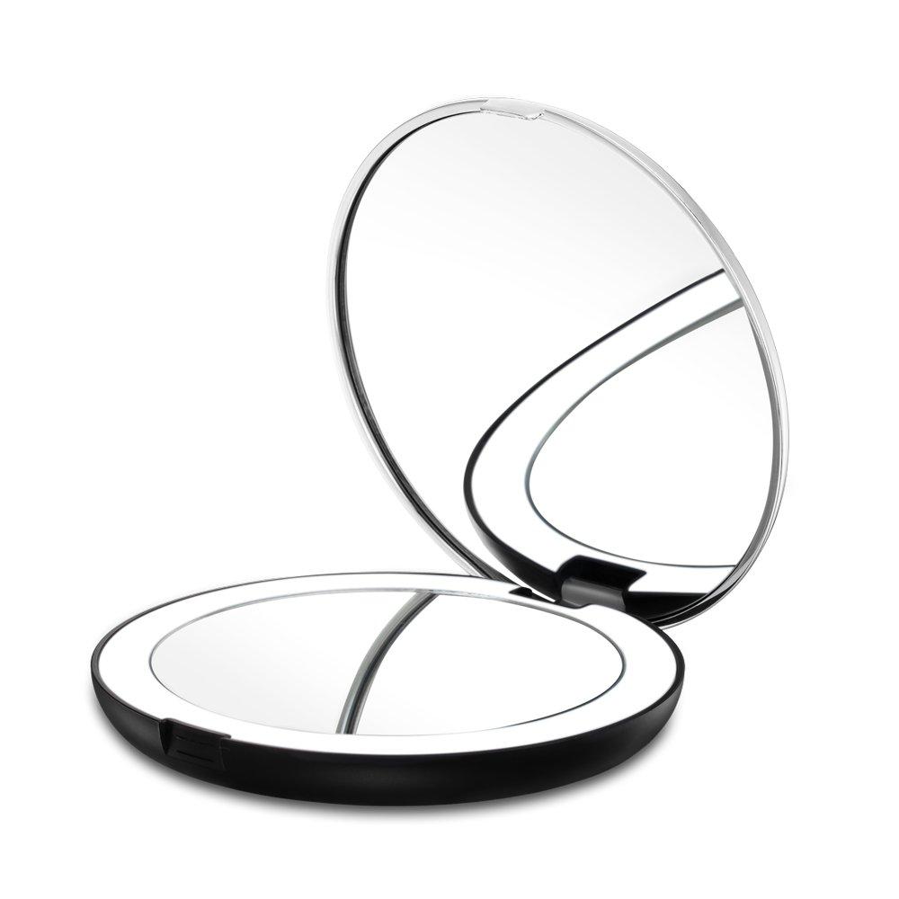 Gotofine Miroir Lumineux de Poche, Miroir Voyage pour Maquillage, Grossissement 1X & 7X Double Face, Pliable, Piles Incluses(Argent + Noir)