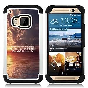 """Pulsar ( Puesta de sol inspirador mensaje Cotización Océano"""" ) HTC One M9 /M9s / One Hima híbrida Heavy Duty Impact pesado deber de protección a los choques caso Carcasa de parachoques"""