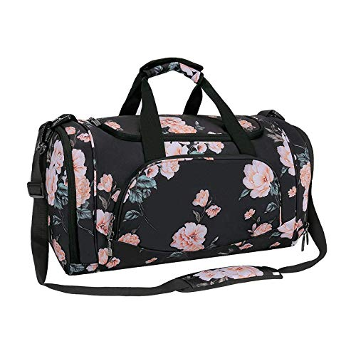 MOSISO Sports Duffel with Shoe Compartment Peony Gym Bag for Men/Women Dance Travel Weekender, Black
