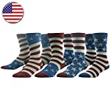Patriotic Themed Mens Casual Socks, Ristake 4 of July American US Glory Flag Star Stripe Fashion Design Dress Novelty Socks for Groomsmen