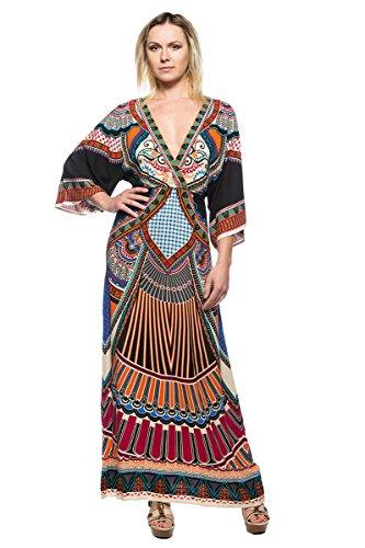 70s Wrap - Women's Caftan Kimono Style Sleeve Ethnic Pattern 70s Plunge Wrap Long Maxi Dress (Small)