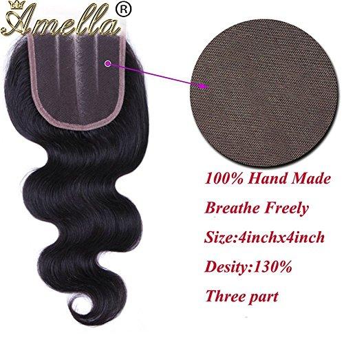Amella Hair Brazilian Virgin Body Wave Hair 3 Bundles with Three Part Closure (14 16 18+12,Natural Black) 8A 100% Unprocessed Brazilian Body Wave Human Hair Weft with Lace Closure Brazilian Body Wave by Amella (Image #4)