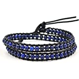 Here Fashion Deepblue Faceted Cut on Genuine Agate Leather Bracelet, 2 Wraps, 4mm/bead