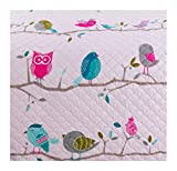 Adrien Girls Bedding Reversible Quilt and Pillow Sham Set, 2pc Microfiber Quilt Sets, Choice of TWIN or FULL, Multiple Designs (Pink Owls, TWIN)
