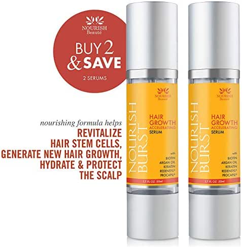 Nourish Beaute Hair Regrowth Treatment Serum for Hair Loss that Promotes Hair Regrowth, Volume and Thickening with Caffeine, For Men and Women, 2 1.7 Ounce Bottles
