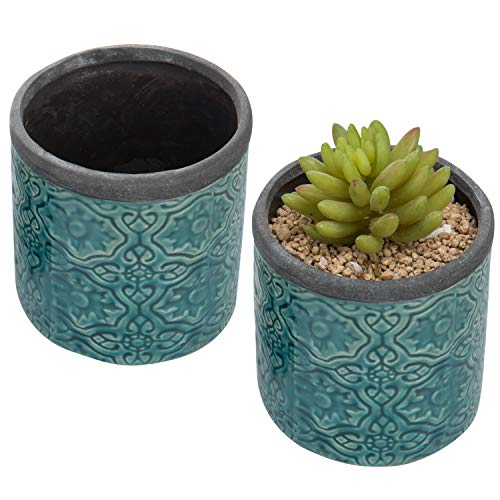 MyGift Vintage-Inspired Embossed Turquoise Clay Flower Pots, Set of 2