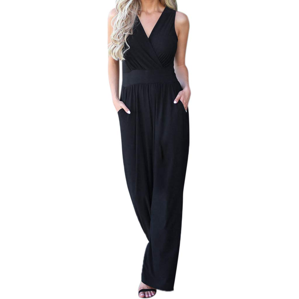 WUAI Womens Elegant Sleeveless Jumpsuit Wrap Top High Waisted V-Neck Wide Leg Pants Jumpsuits Romper (Black,Large)