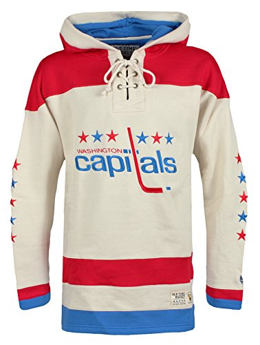 Old Time Hockey NHL Washington Capitals Men's Vintage Lacer Heavyweight Hoodie, 3X-Large, Stone