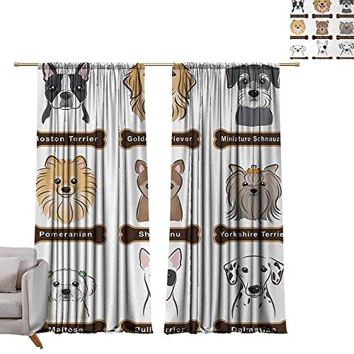 Blackout Curtains Dog,Various Type of Dogs Nameplate Boston Terrier Domestic Animal Faithful Loyal,Grey Cream White W84 x L96 Grommet Window Drapes