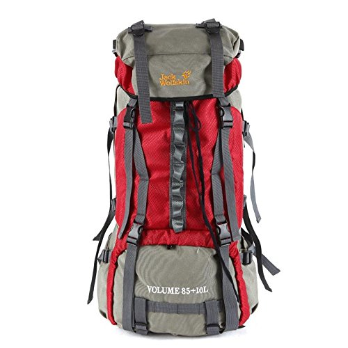 JIN 85L 超大容量アウトドアバックパック メタルステント 登山バッグ  レッド B01GR0G67M