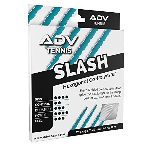 ADV Slash Tennis String - Explosive Powerful Co-Poly - Hexagon Shaped for Max Spin and Response - 17g (White, 40)