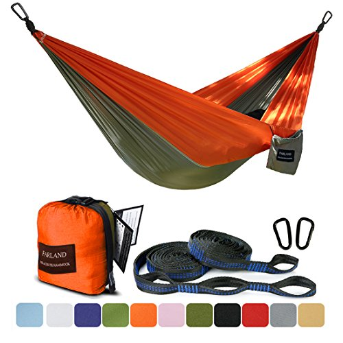 FARLAND Outdoor Camping Hammock - Portable Anti-Fade Nylon Double Hammock with 2 Piece 16 Loop Straps Parachute Lightweight Hammock for Hiking Backpacking