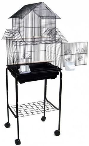 Mcage New Large Canary Parakeet Cockatiel Lovebird Finch Bird Cage with Stand -18 x18 x58 Black