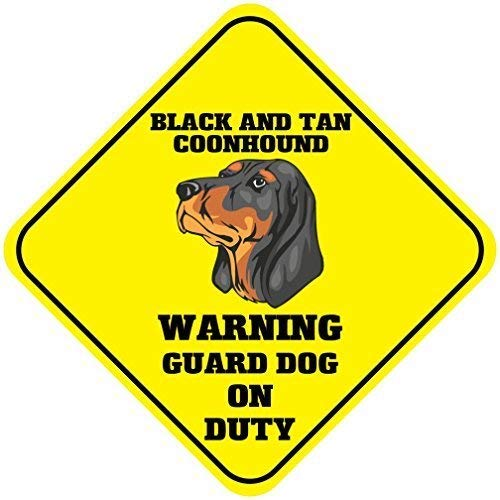 Fabri.YWL Black and Tan Coonhound Warning Guard Dog On Duty Crossing Signs Square Funny Metal Signs for Home Decor Kids Room Gate Yard Sign Novelty Gifts 12