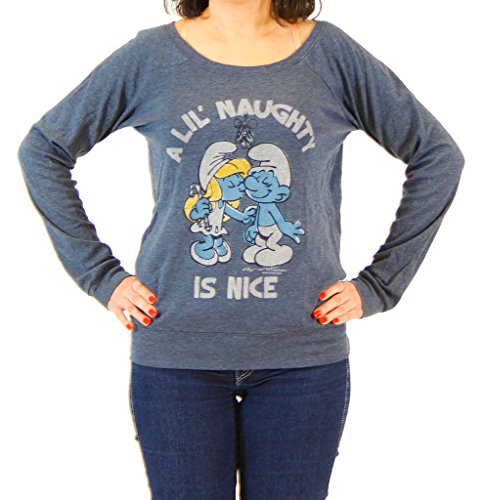 (Junk Food Smurfs A Little Naughty Is Nice Heather Navy T-shirt (Juniors)