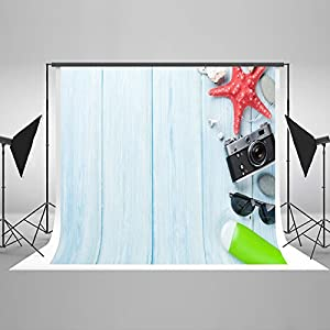 10ft(W)x20ft(H) Photography Backdrop Seaside Vacation Starfish Sunglasses Hat Shell Wooden Floor Toddler Adult Artistic Portrait Girl Background Photo Shoot Studio Props Video