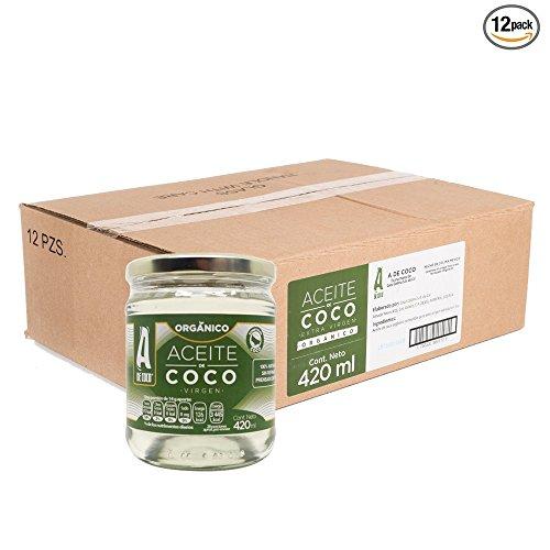 A de Coco - Aceite de Coco Orgánico, 12 Piezas de 420 ml