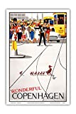 Wonderful Copenhagen - Denmark - Mother Duck and her Ducklings Crossing the Street - Vintage World Travel Poster by Viggo Vagnby c.1959 - Master Art Print - 12in x 18in