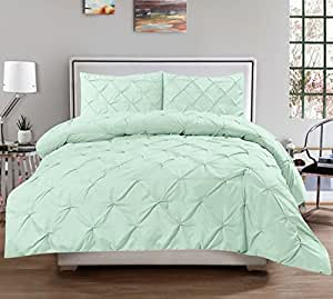Sweet Home Collection 3 Piece Luxurious Pinch Pleat Decorative Pintuck Comforter Set - Highest Quality, Wrinkle Resistant, All Season,Mint,Full/Queen