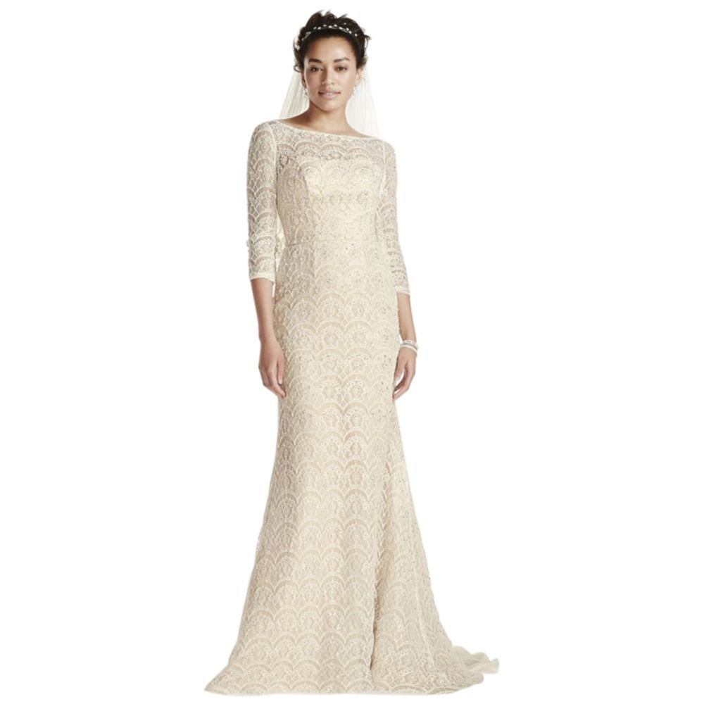 Sample As Is Beaded Lace 34 Sleeved Wedding Dress Style Ai14020112