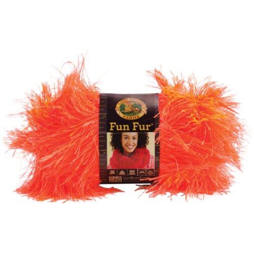 Fur Album - Lion Brand Yarn 320-136 Fun Fur, Neon Orange