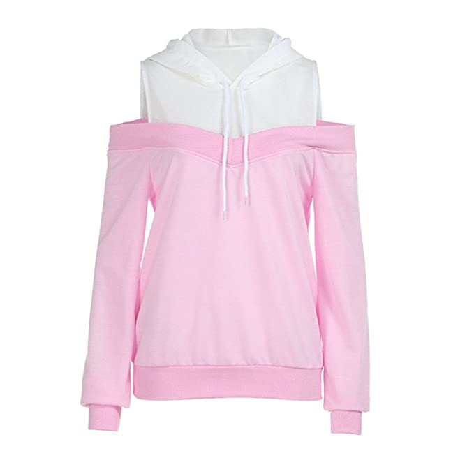 Heeqpmin Sweatshirt Women New Off Shoulder Long Sleeve Hoodie at Amazon Womens Clothing store: