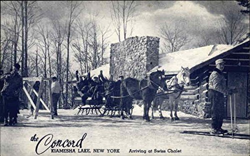 Arriving at Swiss Chalet - The Concord Hotel - The All Year.All Sports Hotel Original Vintage Postcard