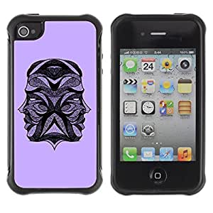 Hybrid Anti-Shock Defend Case for Apple iPhone 6 4.7 Tattoo Design Two Heads