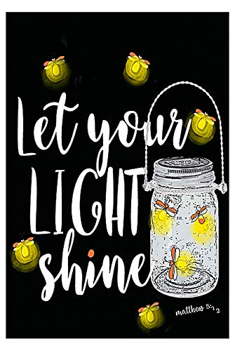 Let Your Light Shine Mason Jar Firefly Decorative Garden Flag, Double Sided, 12
