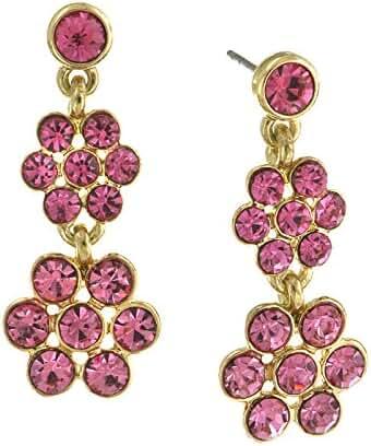 Gold Tone Rose Pink Crystal Flower Drop Earrings