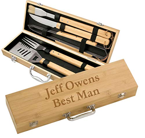 (Personalized BBQ Grilling Set with 5 Tools, Laser Engraved with Designs and Names, Your Own Text)