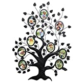 WOLTU Family Tree Style Metal Collage Picture Frame Decorative Wall Hanging Photo Frame,10 Openings,4x6 with Plexiglass protection,Black, PF41blkS10