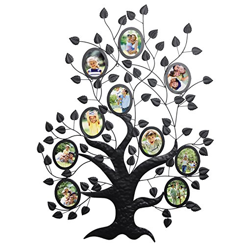 WOLTU Family Tree Style Metal Collage Picture Frame Decorative Wall Hanging Photo Frame,10 Openings,4x6 with Plexiglass protection,Black, PF41blkS10 by WOLTU