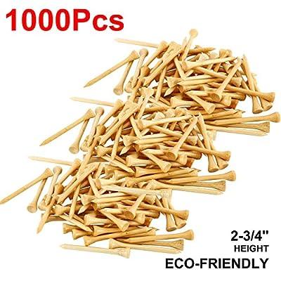 Yaegoo 1,000 Premium Bamboo Golf Tees 2-3/4 inch Length - Eco-Friendly - 7X Stronger Than Wood Tees