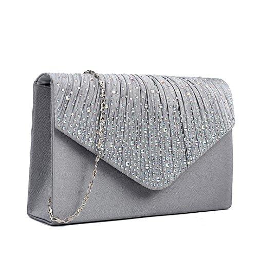 f4a9eb4c7a559 ... Miss LuLu Satin Strass Kettentasche Damen Tasche Mädchen Clutch Bag  Handtasche Hochzeit Abendtasche Umhängetasche (LY1682 ...