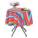 Poise3EHome 60 inches Outdoor/Indoor Waterproof Spillproof Round Tablecloth for Camping, Picnic, Afternoon Tea, BBQ, Color Stripe