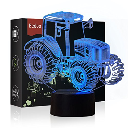(Bedoo LED Tractor Night 3D Illusion Bedside Table Lamp Sleeping Lighting with Smart Touch Button Cute Gift Warming Present Creative Decoration Ideal Art and Crafts, 7 Colours Changing)