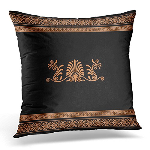 VANMI Throw Pillow Cover Greece Ancient Greek Black and Orange Floral Design Palm Decorative Pillow Case Home Decor Square 18x18 Inches - Art Vases Greek
