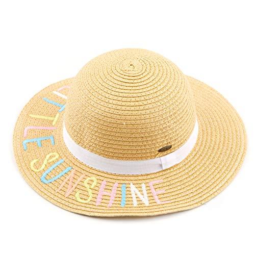 C.C Kids Floppy Straw Embroidered Lettering Brim Summer Beach Sun Hat (KIDS-2000) (Little Sunshine)