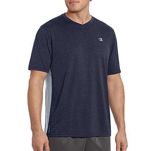 Champion Vapor Men's Heather V-Neck Tee_Navy Heather/Concrete_L