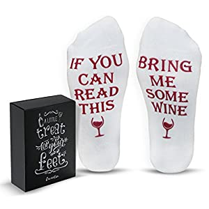 """Funny Wine Socks With Gift Box """"If You Can Read This Bring Me Some Wine"""" Phrase 