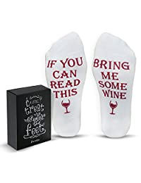 "Funny Wine Socks with Gift Box: Mothers Day Gifts with ""If You Can Read This Bring Me Some Wine"" Phrase 