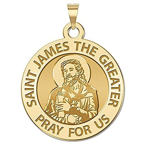 PicturesOnGold.com Saint James The Greater (Portrait) Religious Medal - 2/3 Inch Size of Dime, Solid 14K Yellow Gold with ()
