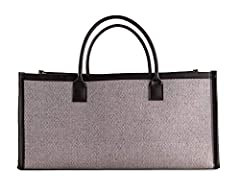 """Wine Country Gift Baskets Grey Mesh Basket/Tote Bag Canvas Interior Leather Handles Leather Finish Dimensions 17"""" x 9.5"""" x 12.5 """" Approximately Weight 0.56 lbs Approximately Stylish, Space-Saving Tote This sturdy and stylish tote is perfect f..."""