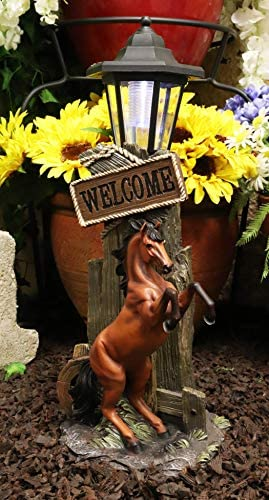 Ebros Large Rustic Country Western Rearing Chestnut Horse by Farm Outpost with Welcome Sign Statue Equipped with Solar LED Lantern Light Stallion Horses Decor Figurine for Patio Poolside Garden Home