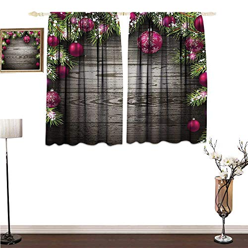 Window Curtains Christmas,Old Fashioned Concept with Twigs and Balls on Rustic Wood Vintage Design Print,Brown Pink Decorative Curtains for Living Room W55 x G45
