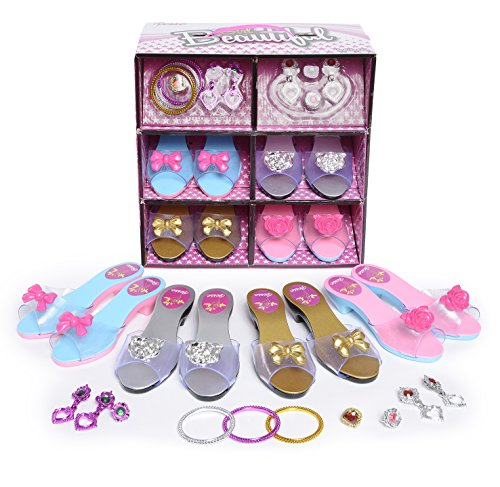 [Princess Dress Up and Play Shoe and Jewelry Boutique (set Includes 4 Pairs)] (Costumes Shoes For Kids)