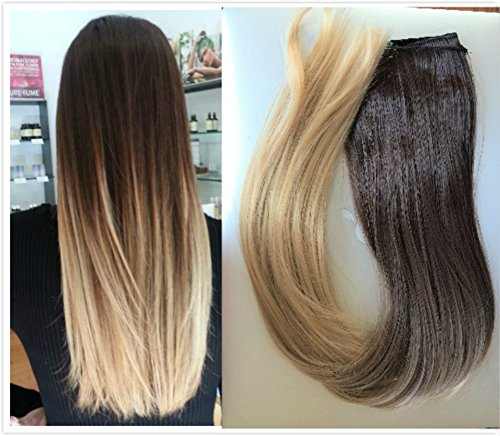22 Inches 3/4 Head One Piece Ombre Dip Dyed Straight Clip-in Hair Extensions (Dark brown to sandy blonde) DL